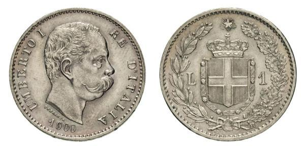 1 Lira Kingdom of Italy (1861-1946) Silver Umberto I (1844-1900)