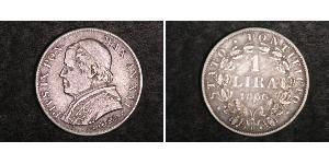 1 Lira Papal States (752-1870) Silver Pope Pius IX (1792- 1878)