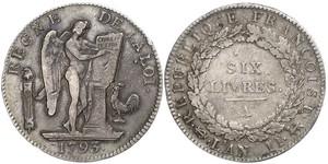 1 Livre Erste Französische Republik  (1792-1804) Silber
