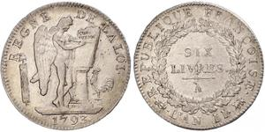 1 Livre French First Republic (1792-1804) Silver
