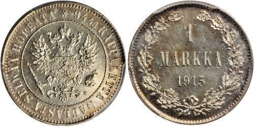 1 Mark Grand-duché de Finlande (1809 - 1917) Argent Nicolas II (1868-1918)