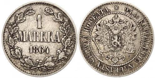 1 Mark Gran Ducado de Finlandia (1809 - 1917) Plata Alejandro II (1818-1881)