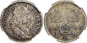 1 Mark Suecia Plata Carlos XI de Suecia (1655-1697)