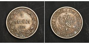 1 Mark Großfürstentum Finnland (1809 - 1917) Silber Alexander II (1818-1881)