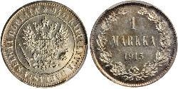 1 Mark Grand Duchy of Finland (1809 - 1917) Silver Nicholas II (1868-1918)