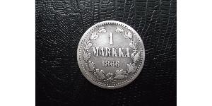 1 Mark Grand Duchy of Finland (1809 - 1917) Silver Alexander II of Russia (1818-1881)