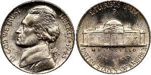 1 Nickel / 5 Cent Estados Unidos de América (1776 - ) Níquel/Cobre Thomas Jefferson (1743-1826)