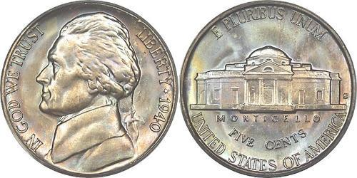1 Nickel / 5 Cent Stati Uniti d