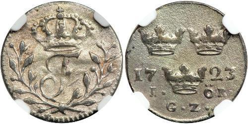 1 Ore 瑞典 銀 弗雷德里克一世 (瑞典) (1676 -1751)