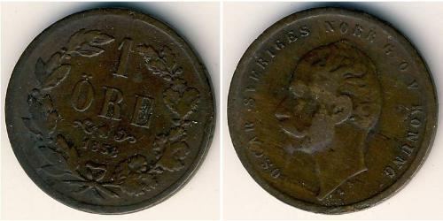 1 Ore United Kingdoms of Sweden and Norway (1814-1905) Bronze Oscar I of Sweden and Norway (1799-1859)