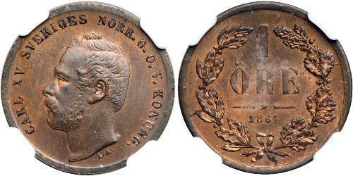 1 Ore United Kingdoms of Sweden and Norway (1814-1905) Copper Charles XV of Sweden (1826 - 1872)