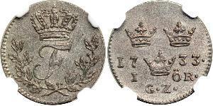 1 Ore Suecia Plata Federico I de Suecia (1676 -1751)