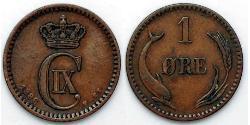 1 Ore Denmark  Christian IX of Denmark (1818-1906)