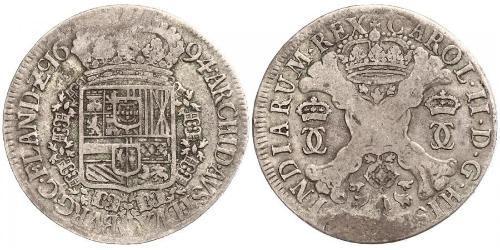 1 Patagon 西屬尼德蘭 (1581 - 1714) 銀 卡洛斯二世 (西班牙) (1661 - 1700)