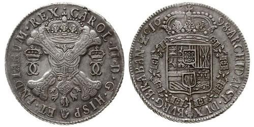 1 Patagon Spanish Netherlands Argento Carlo II di Spagna (1661-1700)