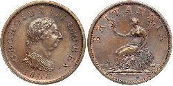1 Penny 大不列颠及爱尔兰联合王国 (1801 - 1922) 銅 喬治三世 (1738-1820)