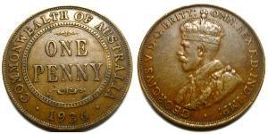 1 Penny Australia (1788 - 1939) Bronce Jorge V (1865-1936)