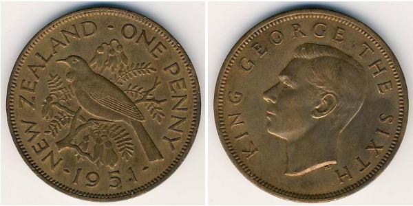1 Penny Nueva Zelanda Bronce Jorge VI (1895-1952)