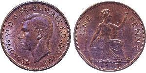 1 Penny Reino Unido (1922-) Bronce Jorge VI (1895-1952)