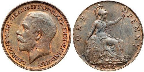 1 Penny Reino Unido de Gran Bretaña e Irlanda (1801-1922) Bronce Jorge V (1865-1936)