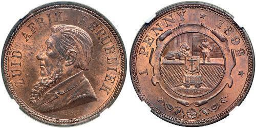 1 Penny Sudáfrica Bronce Paul Kruger (1825 - 1904)