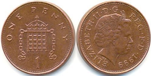 1 Penny Feriind Kiningrik (1922-) Bronze Elizabeth II (1926-)
