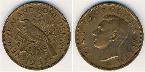 1 Penny New Zealand Bronze George VI (1895-1952)