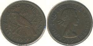 1 Penny New Zealand Bronze Elizabeth II (1926-)