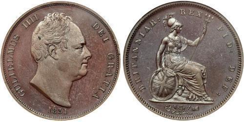 1 Penny Vereinigtes Königreich von Großbritannien und Irland (1801-1922) Bronze Wilhelm IV (1765-1837)