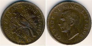 1 Penny Nuova Zelanda Bronzo Giorgio VI (1895-1952)