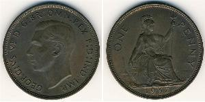 1 Penny Regno Unito (1922-) Bronzo Giorgio VI (1895-1952)