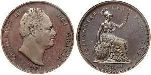 1 Penny Regno Unito di Gran Bretagna e Irlanda (1801-1922) Bronzo Guglielmo IV (1765-1837)