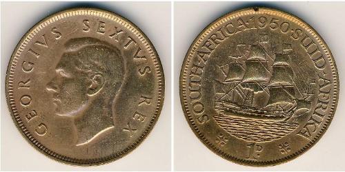 1 Penny Sudafrica Bronzo Giorgio VI (1895-1952)