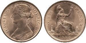 1 Penny Reino Unido de Gran Bretaña e Irlanda (1801-1922) Cobre Victoria (1819 - 1901)