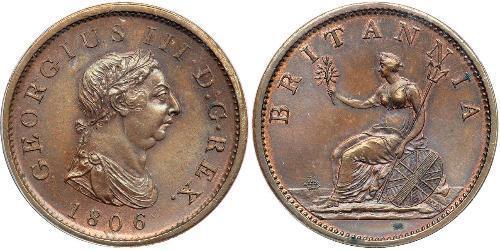 1 Penny Reino Unido de Gran Bretaña e Irlanda (1801-1922) Cobre Jorge III (1738-1820)