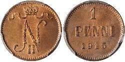 1 Penny Grand Duchy of Finland (1809 - 1917) Copper Nicholas II (1868-1918)