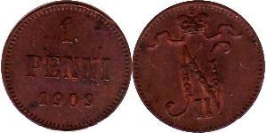 1 Penny Grand Duchy of Finland (1809 - 1917) Copper Nicholas II (1868-1918)