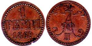 1 Penny Grand Duchy of Finland (1809 - 1917) Copper Alexander II of Russia (1818-1881)