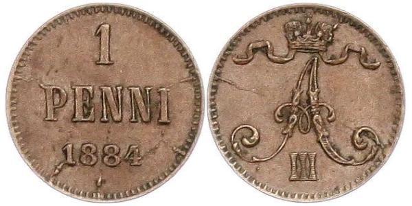 1 Penny Grand Duchy of Finland (1809 - 1917) Copper Alexander III (1845 -1894)