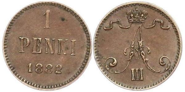 1 Penny Grand Duchy of Finland (1809 - 1917) Copper Alexander III (1845 -1894)