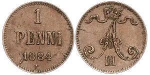 1 Penny Großfürstentum Finnland (1809 - 1917) Kupfer Alejandro III (1845 -1894)