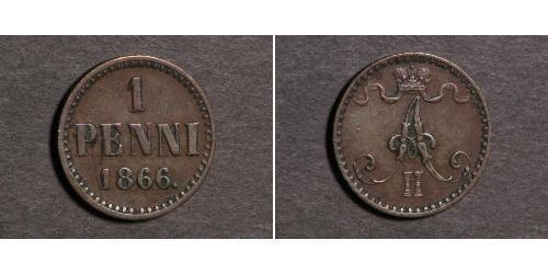 1 Penny Großfürstentum Finnland (1809 - 1917) Kupfer Alexander II (1818-1881)