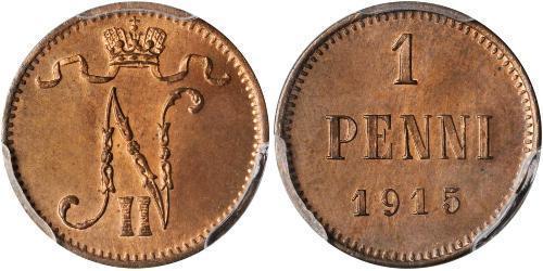 1 Penny Großfürstentum Finnland (1809 - 1917) Kupfer Nikolaus II (1868-1918)