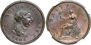 1 Penny Vereinigtes Königreich von Großbritannien und Irland (1801-1922) Kupfer Georg III (1738-1820)