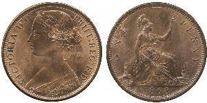 1 Penny Vereinigtes Königreich von Großbritannien und Irland (1801-1922) Kupfer Victoria (1819 - 1901)
