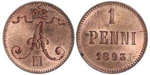 1 Penny Granducato di Finlandia (1809 - 1917) Rame Alessandro III (1845 -1894)