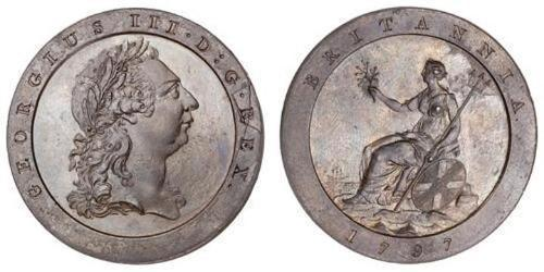1 Penny Regno Unito di Gran Bretagna (1707-1801) Rame Giorgio III (1738-1820)