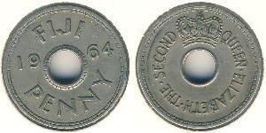 1 Penny Figi Rame/Nichel Elisabetta II (1926-)