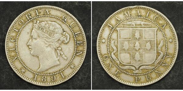 1 Penny Giamaica (1962 - ) Rame/Nichel Vittoria (1819 - 1901)