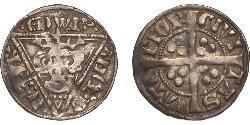 1 Penny Lordship of Ireland (1171-1541) Silver Edward I (1239 - 1307)